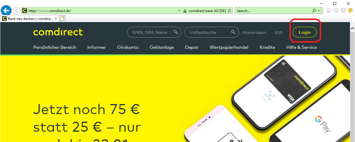comdirect online banken konto login