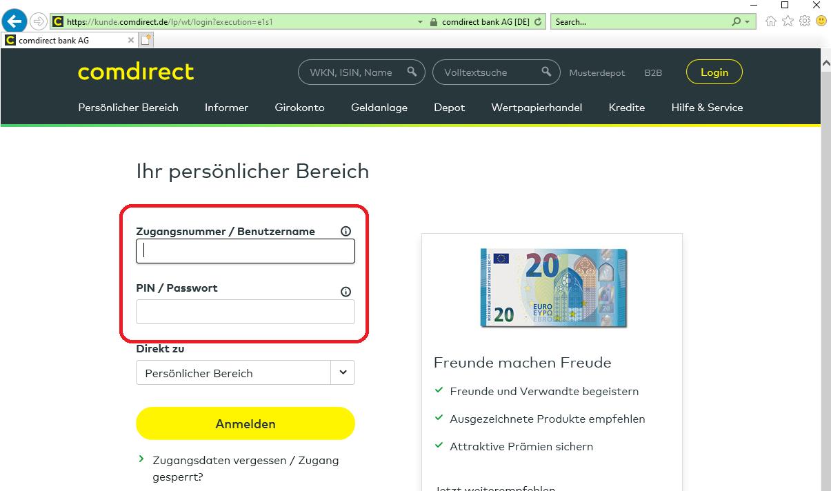 comdirect online banken konto login2